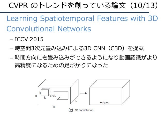 CVPR のトレンドを創っている論⽂(10/13) • Learning Spatiotemporal Features with 3D Convolutional Networks – ICCV 2015 – 時空間3次元畳み込みによる3D ...