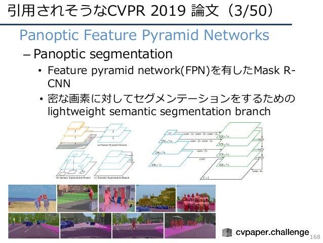 引⽤されそうなCVPR 2019 論⽂(3/50) 168 • Panoptic Feature Pyramid Networks – Panoptic segmentation • Feature pyramid network(FPN)を有...