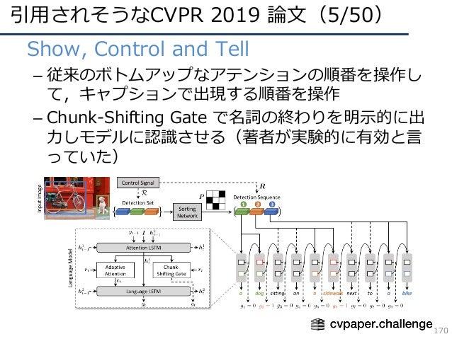 引⽤されそうなCVPR 2019 論⽂(5/50) 170 • Show, Control and Tell – 従来のボトムアップなアテンションの順番を操作し て,キャプションで出現する順番を操作 – Chunk-Shifting Gate ...