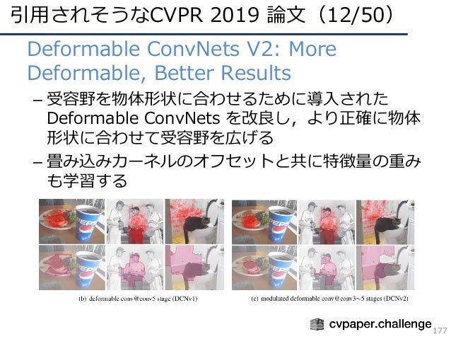 引⽤されそうなCVPR 2019 論⽂(12/50) 177 • Deformable ConvNets V2: More Deformable, Better Results – 受容野を物体形状に合わせるために導⼊された Deformabl...