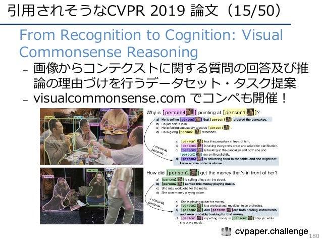 引⽤されそうなCVPR 2019 論⽂(15/50) 180 • From Recognition to Cognition: Visual Commonsense Reasoning – 画像からコンテクストに関する質問の回答及び推 論の理由...
