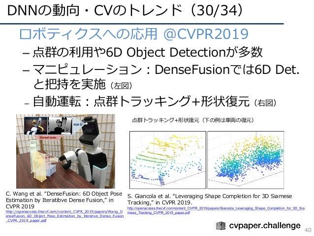 DNNの動向・CVのトレンド(30/34) 40 • ロボティクスへの応⽤ @CVPR2019 – 点群の利⽤や6D Object Detectionが多数 – マニピュレーション:DenseFusionでは6D Det. と把持を実施(左図)...