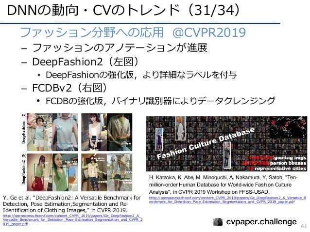 DNNの動向・CVのトレンド(31/34) 41 • ファッション分野への応⽤ @CVPR2019 – ファッションのアノテーションが進展 – DeepFashion2(左図) • DeepFashionの強化版,より詳細なラベルを付与 – F...