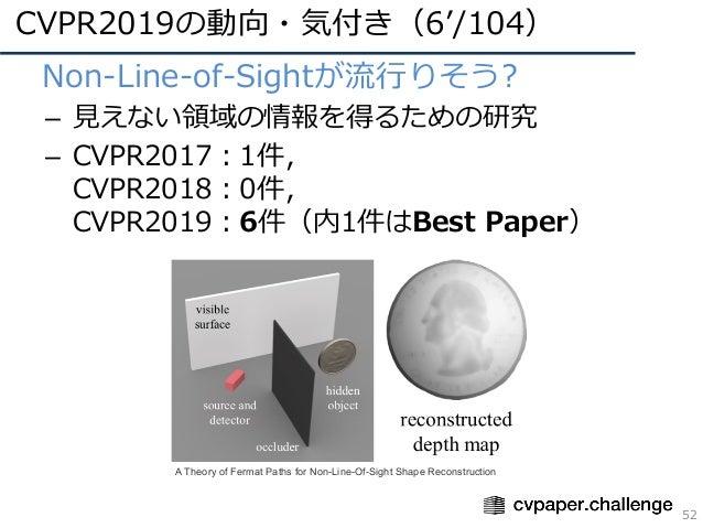 CVPR2019の動向・気付き(6'/104) 52 • Non-Line-of-Sightが流⾏りそう? – ⾒えない領域の情報を得るための研究 – CVPR2017:1件, CVPR2018:0件, CVPR2019:6件(内1件はBest...