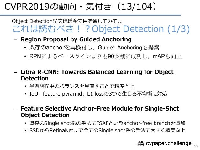 CVPR2019の動向・気付き(13/104) 59 • Object Detection論⽂ほぼ全て⽬を通してみて... • これは読むべき!?Object Detection (1/3) – Region Proposal by Guide...