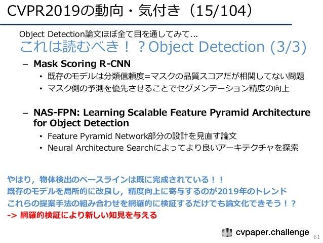 CVPR2019の動向・気付き(15/104) 61 • Object Detection論⽂ほぼ全て⽬を通してみて... • これは読むべき!?Object Detection (3/3) – Mask Scoring R-CNN • 既存の...