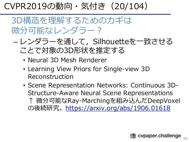 CVPR2019の動向・気付き(20/104) 66 • 3D構造を理解するためのカギは 微分可能なレンダラー? – レンダラーを通して,Silhouetteを⼀致させる ことで対象の3D形状を推定する • Neural 3D Mesh Ren...