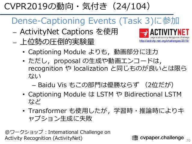 CVPR2019の動向・気付き(24/104) 70 • Dense-Captioning Events (Task 3)に参加 – ActivityNet Captions を使⽤ – 上位勢の圧倒的実験量 • Captioning Modu...