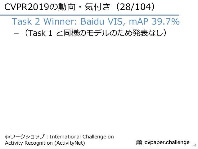 CVPR2019の動向・気付き(28/104) 74 • Task 2 Winner: Baidu VIS, mAP 39.7% – (Task 1 と同様のモデルのため発表なし) @ワークショップ:International Challeng...