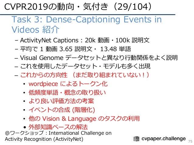 CVPR2019の動向・気付き(29/104) 75 • Task 3: Dense-Captioning Events in Videos 紹介 – ActivityNet Captions : 20k 動画・100k 説明⽂ – 平均で 1...