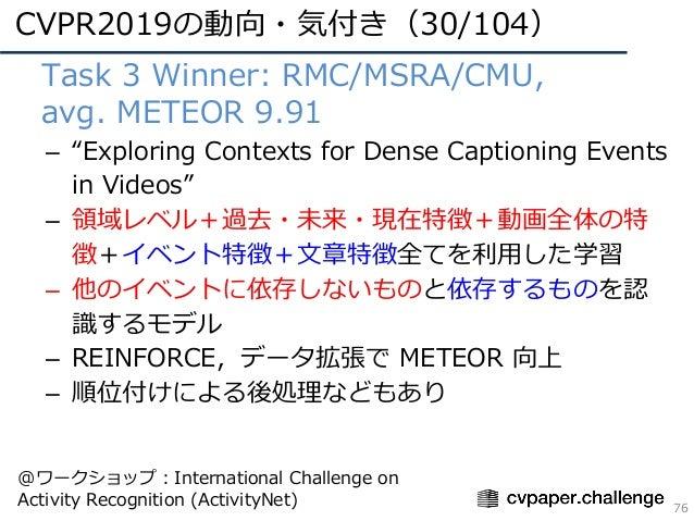 "CVPR2019の動向・気付き(30/104) 76 • Task 3 Winner: RMC/MSRA/CMU, • avg. METEOR 9.91 – ""Exploring Contexts for Dense Captioning Ev..."