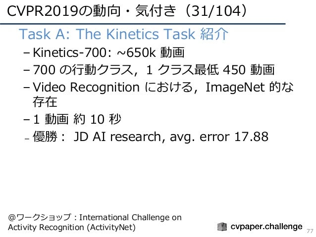 CVPR2019の動向・気付き(31/104) 77 • Task A: The Kinetics Task 紹介 – Kinetics-700: ~650k 動画 – 700 の⾏動クラス,1 クラス最低 450 動画 – Video Rec...