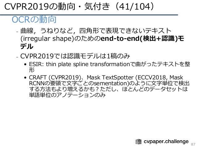 CVPR2019の動向・気付き(41/104) 87 • OCRの動向 – 曲線,うねりなど,四⾓形で表現できないテキスト (irregular shape)のためのend-to-end(検出+認識)モ デル – CVPR2019では認識モデル...