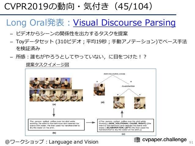 CVPR2019の動向・気付き(45/104) 91 • Long Oral発表:Visual Discourse Parsing – ビデオからシーンの関係性を出⼒するタスクを提案 – Toyデータセット (310ビデオ;平均19秒;⼿動アノ...