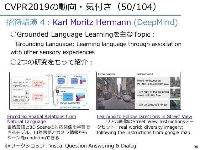 CVPR2019の動向・気付き(50/104) 96 ●招待講演 4:Karl Moritz Hermann (DeepMind) ○Grounded Language Learningを主なTopic: Grounding Language:...