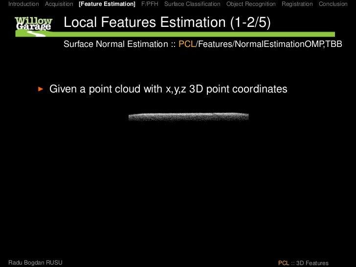 Introduction Acquisition [Feature Estimation] F/PFH Surface Classification Object Recognition Registration Conclusion      ...