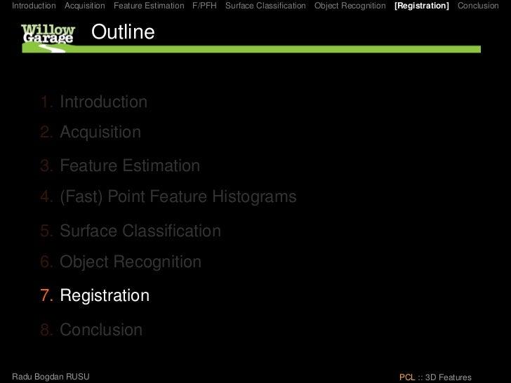 Introduction   Acquisition   Feature Estimation   F/PFH   Surface Classification   Object Recognition   [Registration]   Co...