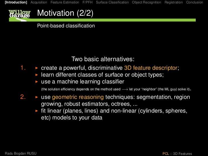 [Introduction] Acquisition Feature Estimation F/PFH Surface Classification Object Recognition Registration Conclusion      ...