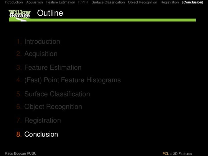 Introduction   Acquisition   Feature Estimation   F/PFH   Surface Classification   Object Recognition   Registration   [Con...