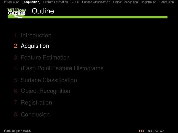 Introduction [Acquisition] Feature Estimation F/PFH Surface Classification Object Recognition Registration Conclusion      ...