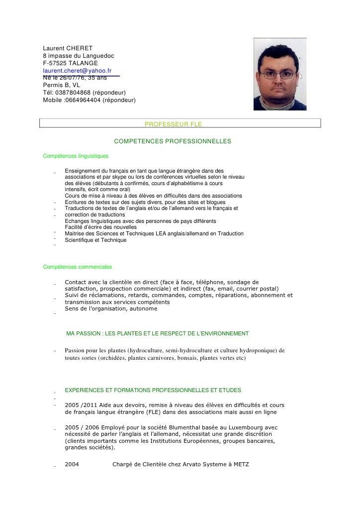 Exemple Cv Francais Professeur | Sample Resume