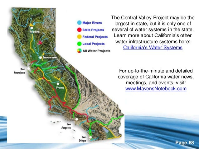 "central valley project a federal water In 1992, congress recognized the significant ecological effects of the operation of the cvp and the swp and passed the central valley project improvement act (""cvpia"") the cvpia attempted to strike a new balance between water uses and re-allocated 800,000 acre-feet of water (per year) to restore central valley fisheries."