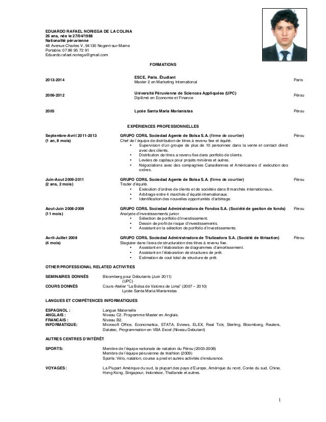Cv Francais Cv Download