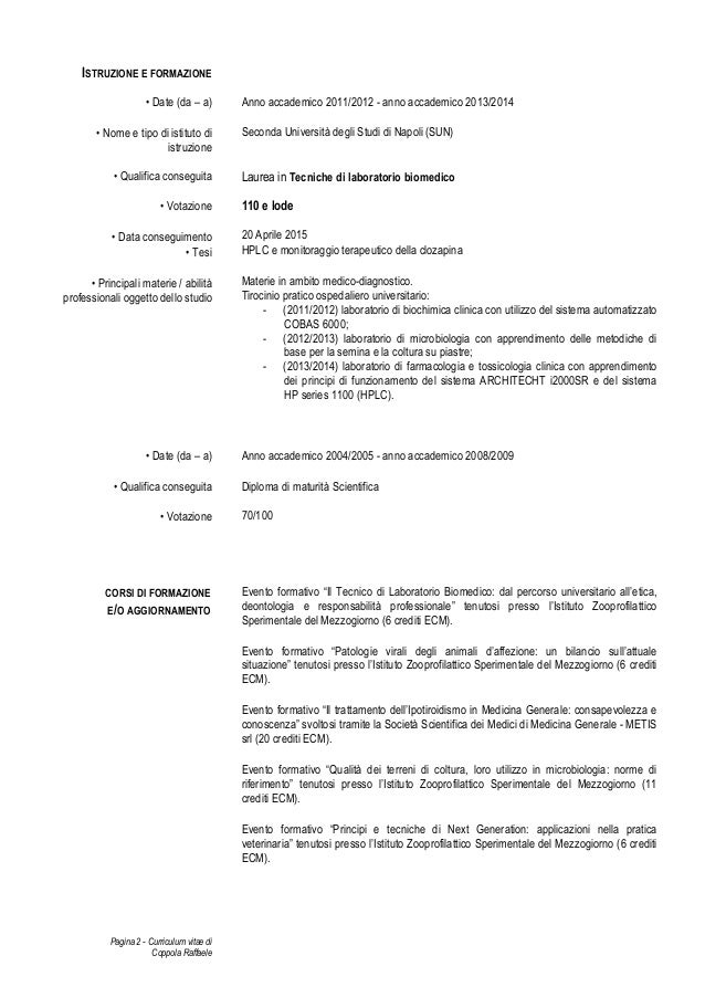 Curriculum Vitae Tecnico Di Laboratorio Biomedico Firmakoek