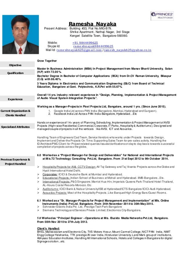 cv of ramesh nayak for project managersnrproject manager