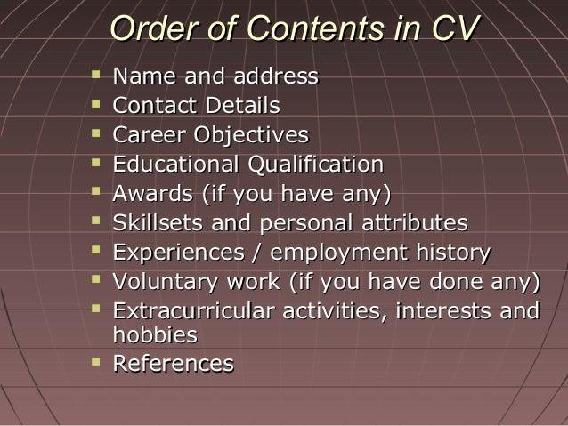 contents of biodata