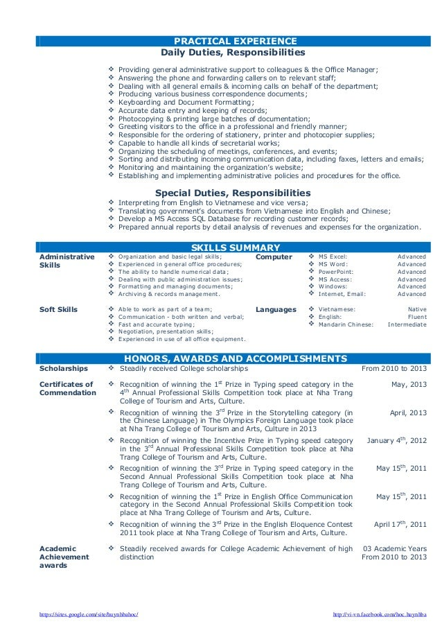 cv resume sample for fresh graduate of office administration - Administration Sample Resume