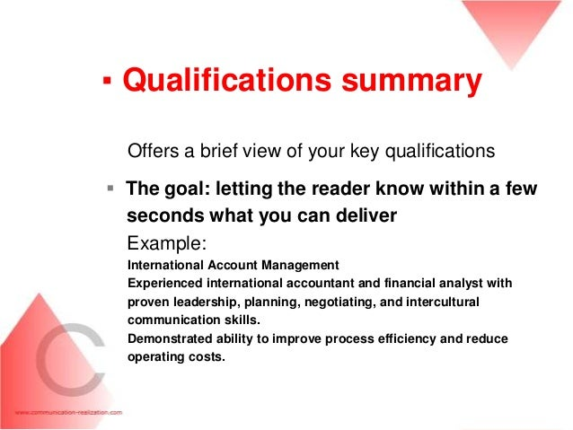 qualifications summary resumes