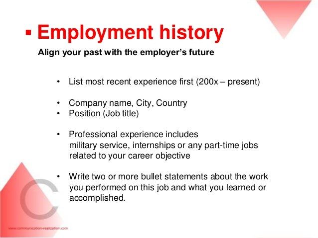 ... Managers; 27. ▫ Employment History ...  Resume Employment History