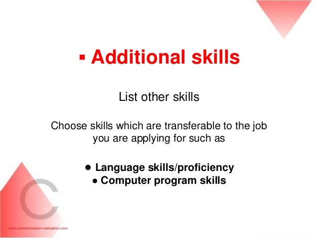 31. ▫ Additional Skills List ...