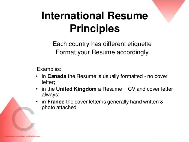 ... 35. International Resume ...  How Resume Is Written