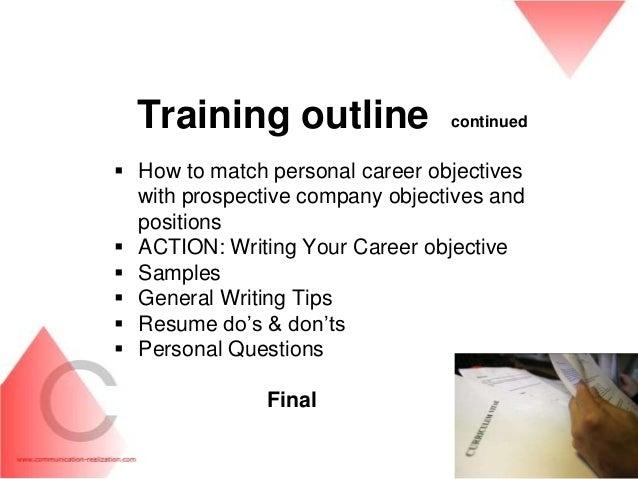 resume writing training outline