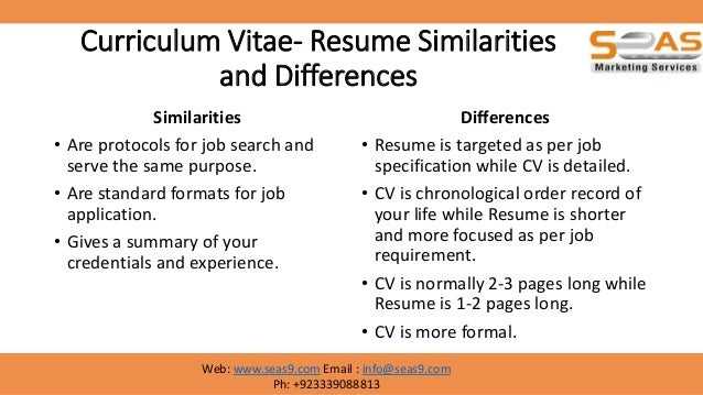 what is the difference between resume and curriculum vitae hola