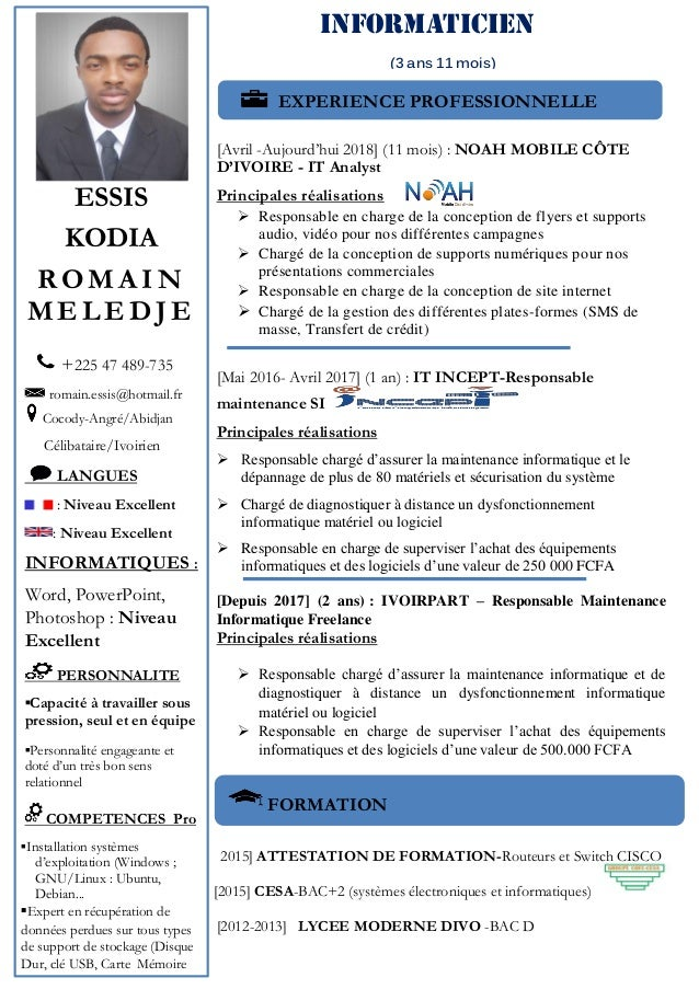 cv romain kodia essis informaticien