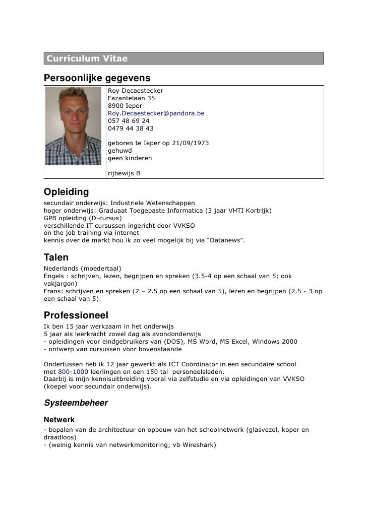 Resume Of Roy Decaestecker