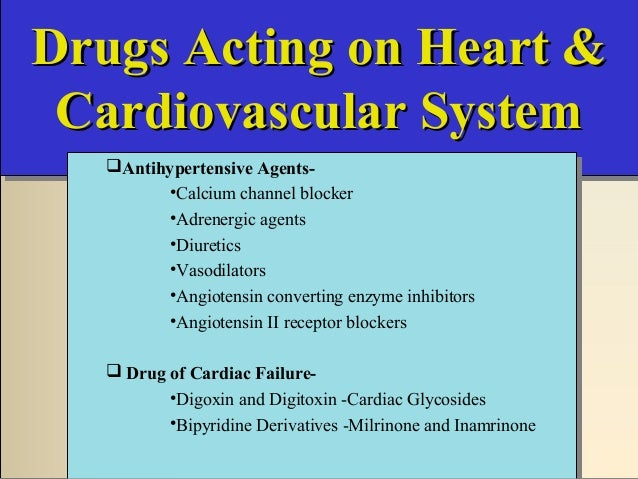 Drugs Acting on Heart &Drugs Acting on Heart & Cardiovascular SystemCardiovascular System Drugs Acting on Heart &Drugs Act...