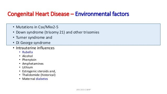 Congenital Heart Disease – Environmental factors • Mutations in Csx/Mkx2-5 • Down syndrome (trisomy 21) and other trisomie...