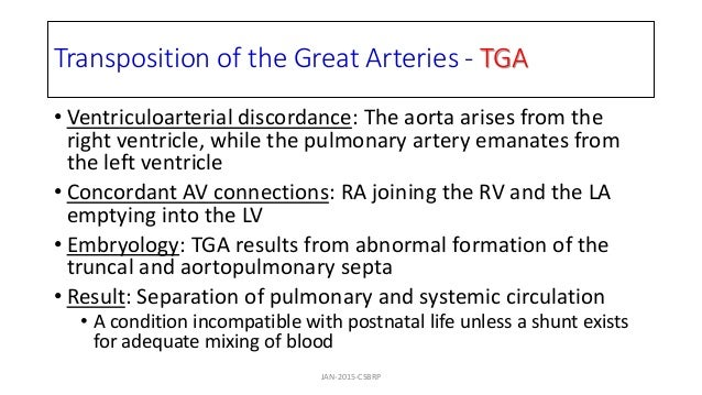 Transposition of the Great Arteries - TGA • Ventriculoarterial discordance: The aorta arises from the right ventricle, whi...