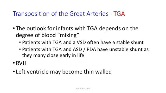 """Transposition of the Great Arteries - TGA • The outlook for infants with TGA depends on the degree of blood """"mixing"""" • Pat..."""