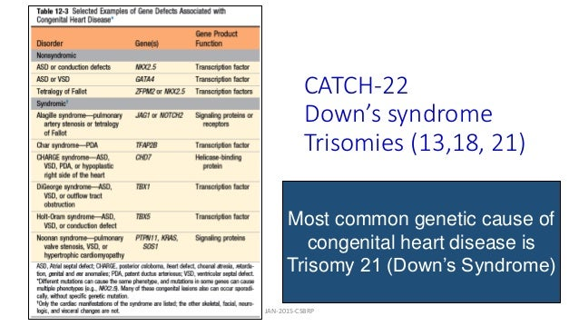 CATCH-22 Down's syndrome Trisomies (13,18, 21) Most common genetic cause of congenital heart disease is Trisomy 21 (Down's...