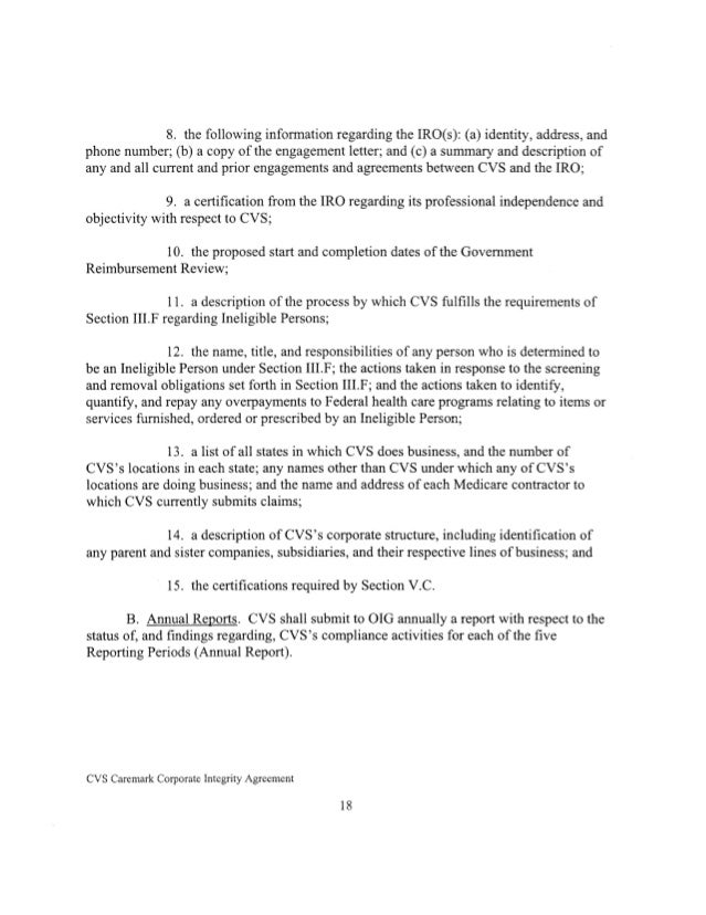 Corporate Intergrity Agreement From The Qui Tam Lawsuit Against Cvs