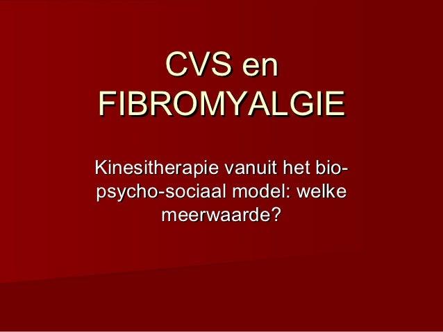 CVS enFIBROMYALGIEKinesitherapie vanuit het bio-psycho-sociaal model: welke        meerwaarde?