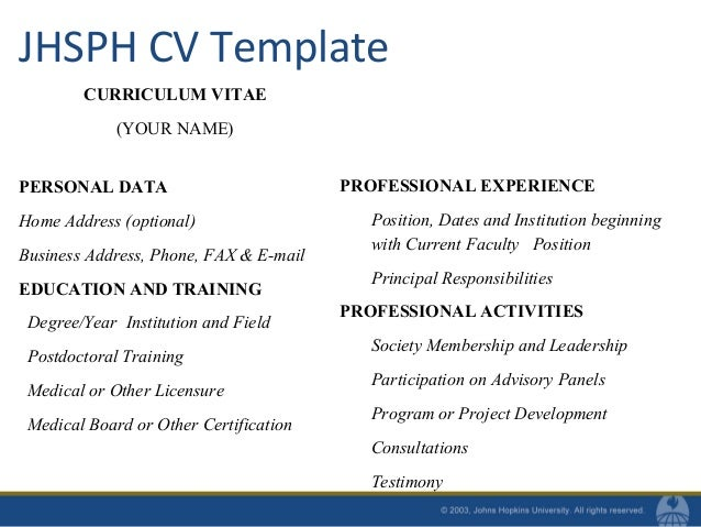 Cvs for doctoral amp post doc students fall 2010 applied approach 11 jhsph cv template yelopaper Choice Image