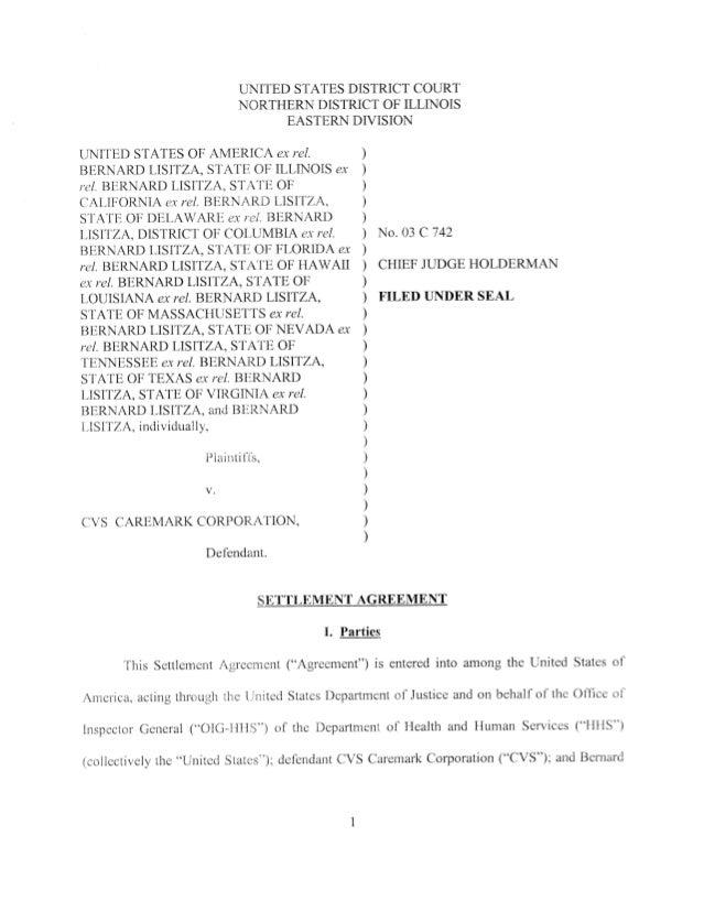 The Qui Tam Action Against Cvs Settlement Agreement