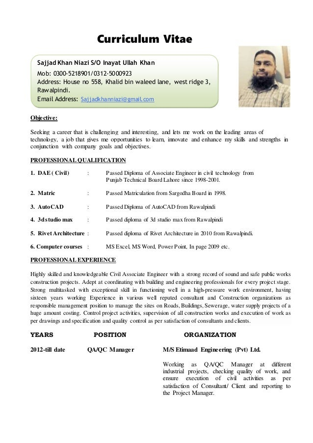 cv site engineer civil curriculum vitaepersonal information1 name sajjad ullah khan2 - Engineer Resume