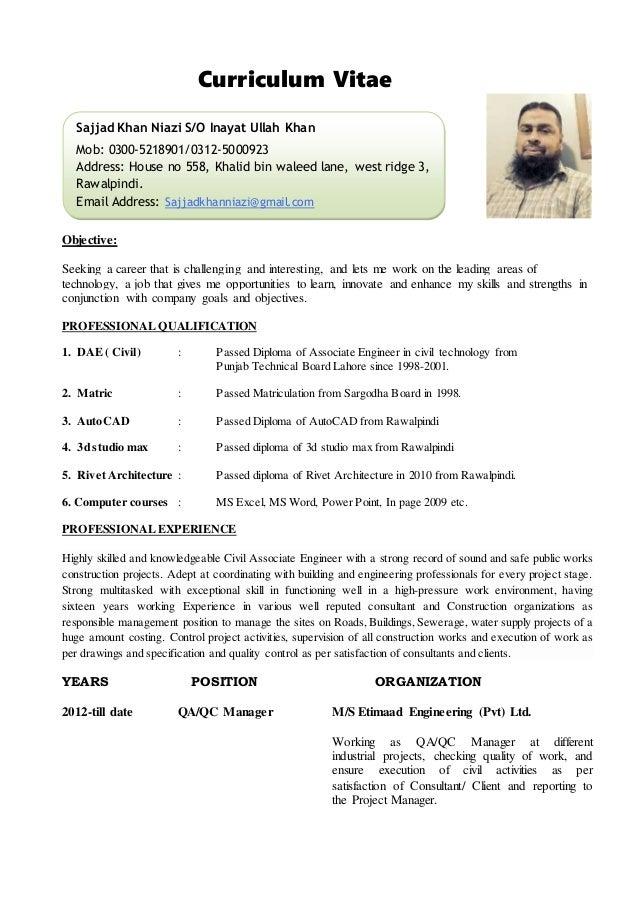 Resume Resume Example Civil Engineer Cv Site Engineer Civil Curriculum  Vitaepersonal Information1 Name Sajjad Ullah Khan